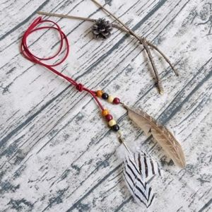 Jewelry - Boho Feather Red Beaded Wrap Necklace Headband